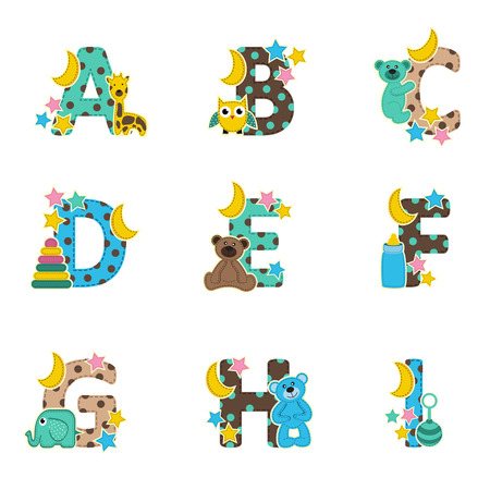 moon angels: alphabet baby from A to I- vector illustration Illustration