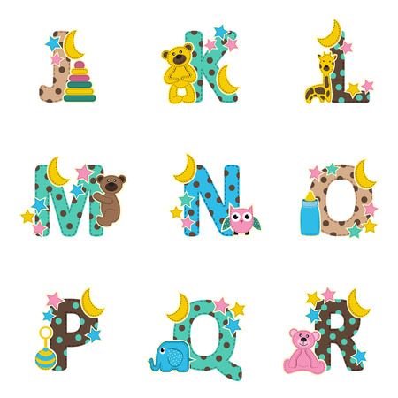 alphabet baby from J to R- vector illustration Illustration