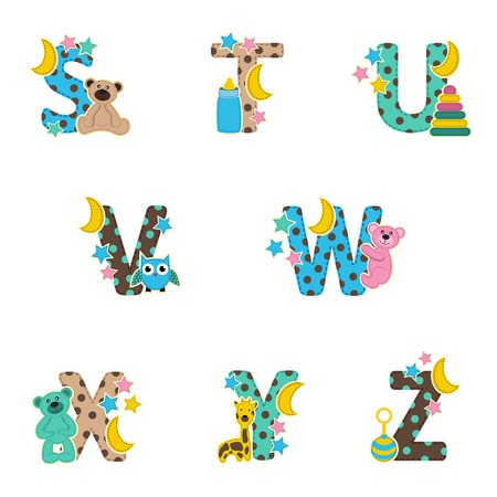 alphabet baby from S to Z- vector illustration Vector