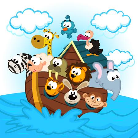 Noah die Arche mit Tieren - Vektor-Illustration