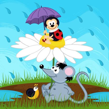muis lieveheersbeestje slak verbergen van regen - vector illustratie Stock Illustratie