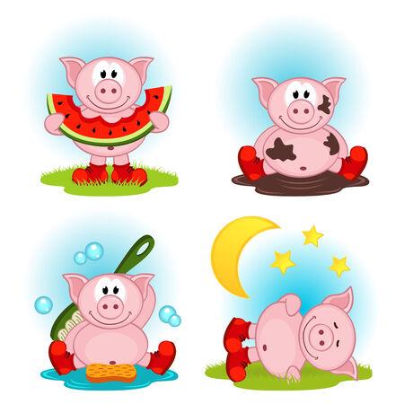 zapatos caricatura: cerdo en la acci�n - ilustraci�n vectorial