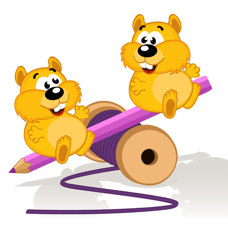 hamsters: Hamsters on a swing -  vector illustration