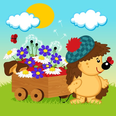 hedgehog with a wooden cart - vector illustration Vector
