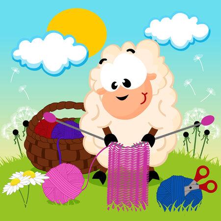 sheep knits yarn - vector illustration Vector