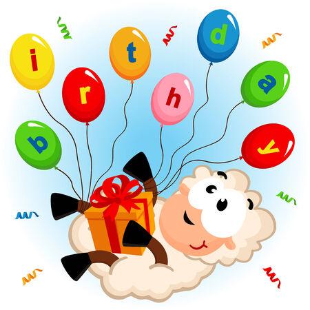 誕生日羊 - ベクトル イラスト eps