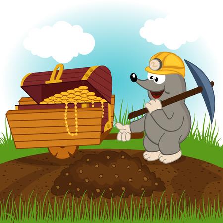 dug: mole dug treasure - vector illustration