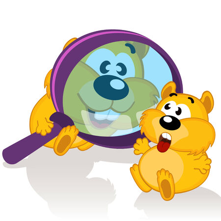 hamster and magnifying glass -  vector illustration