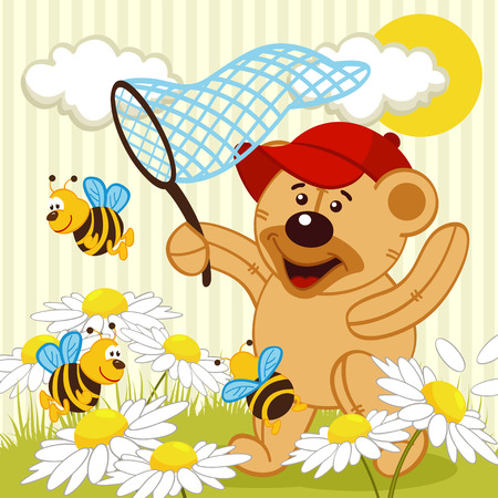 casualty: teddy bear catching bee -  vector illustration Illustration
