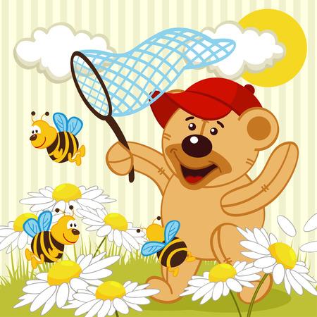 mischief: teddy bear catching bee -  vector illustration Illustration