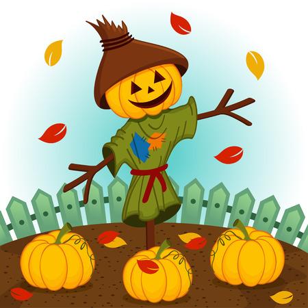 scarecrow with a pumpkin head  Vector