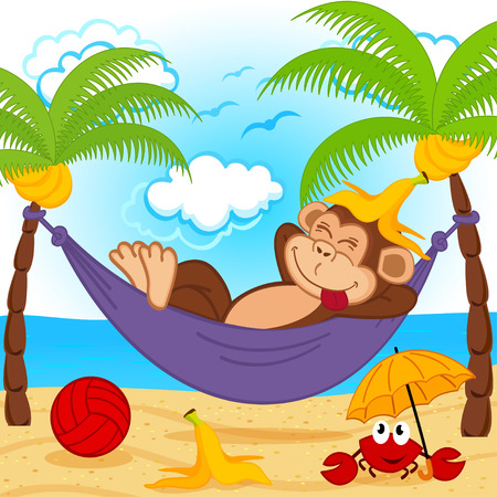 platano caricatura: mono en una hamaca Vectores