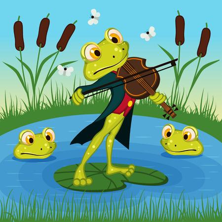 violins: Frog plays the violin