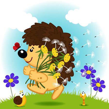 hedgehog with dandelions Vector