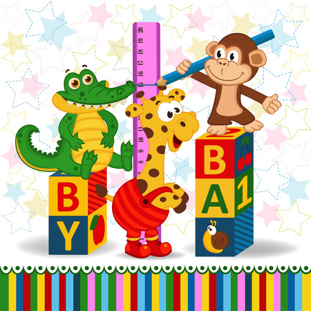 monkey and crocodile measure the growth of a giraffe Vector