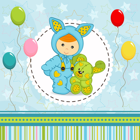 baby boy dressed as rabbit - vector illustration Vector