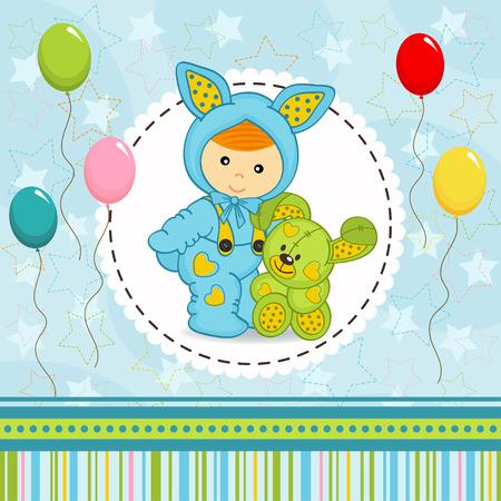 baby boy dressed as rabbit - vector illustration Vector
