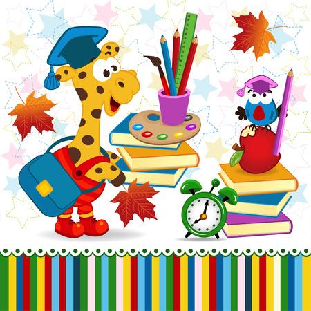giraffe bird school supplies -  vector illustration, eps