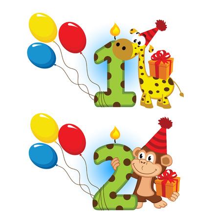 Ersten zweiten Geburtstag mit Tier Standard-Bild - 29935694