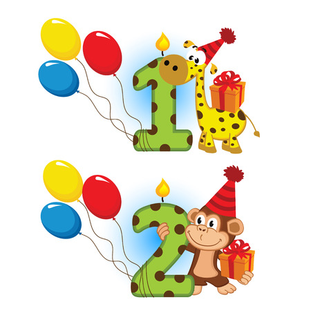 first second birthday with animal  Vector
