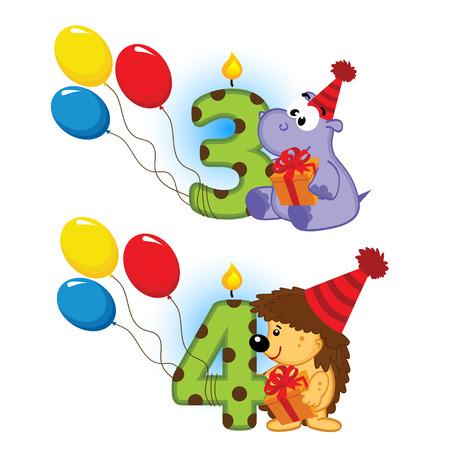 third birthday: third fourth birthday with animal  Illustration