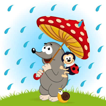 mole ladybug snail rain  - vector  illustration, eps Vector