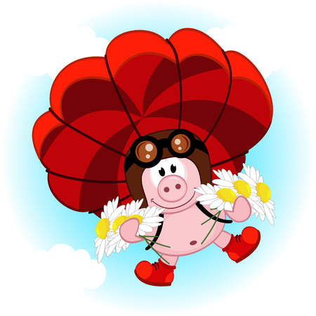 skydive: pig on a parachute with daisies
