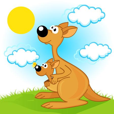 Mutter Känguru mit Baby