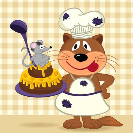 cat chef prepare cake   Vector