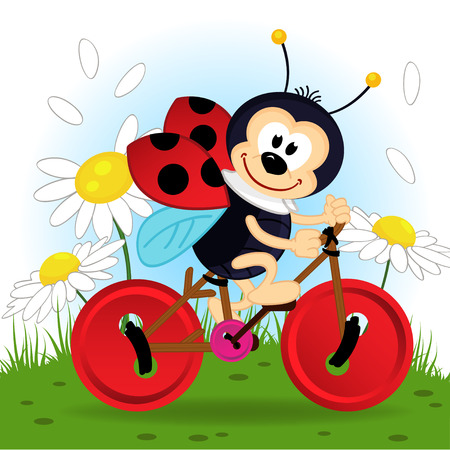 flowers cartoon: ladybug on bike  Illustration