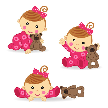 baby girl bear action   Vector