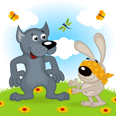 wolf and hare playing hide and seek  Vector