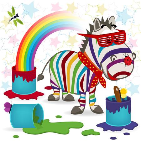 Regenbogen Zebra - Vektor-Illustration