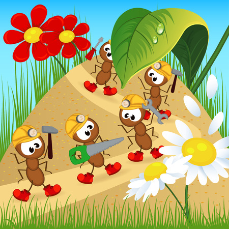 anthill: ants builders with tools - vector illustration, eps Illustration
