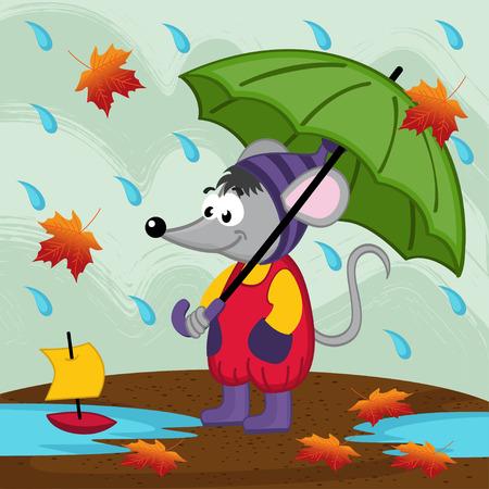 mouse in rain autumn - vector illustration, eps Vector