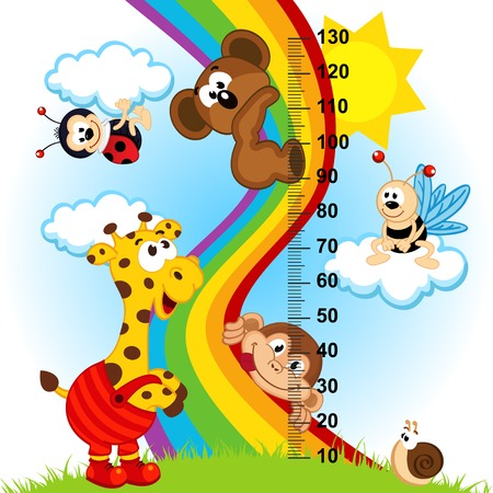 cartoon monkey: baby height measure  in original proportions 1 to 4  - vector illustration, eps