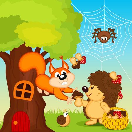 Igel gibt Eichhörnchen Pilz
