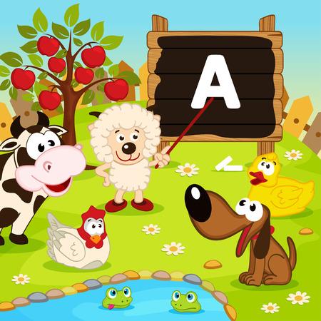 teaches: sheep teaches animals - vector illustration, eps