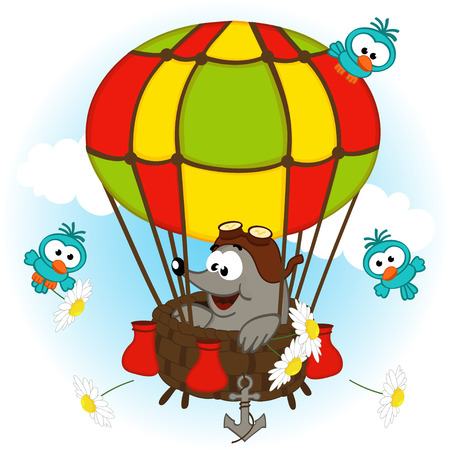 comic baby: mole in balloon - vector illustration, eps
