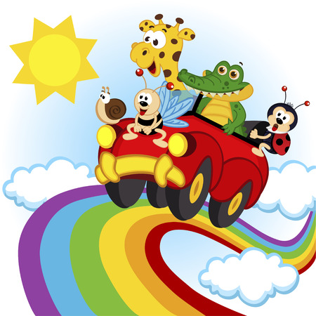 giraffes: animals traveling by car over the rainbow - vector illustration