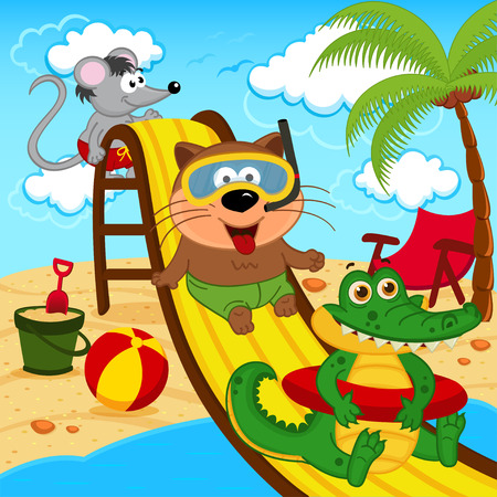 skate park: animals in aqua park - vector illustration Illustration