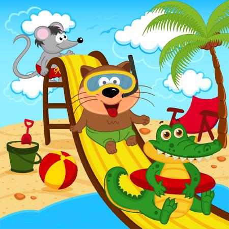 Tiere in Aqua-Park - Vektor-Illustration