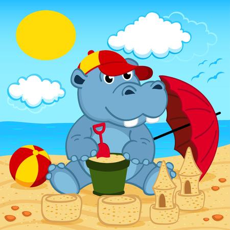 hipopotamo caricatura: hipopótamo en la playa