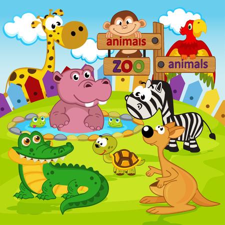 hipopotamo dibujos animados: animales del parque zoológico - ilustración vectorial, eps