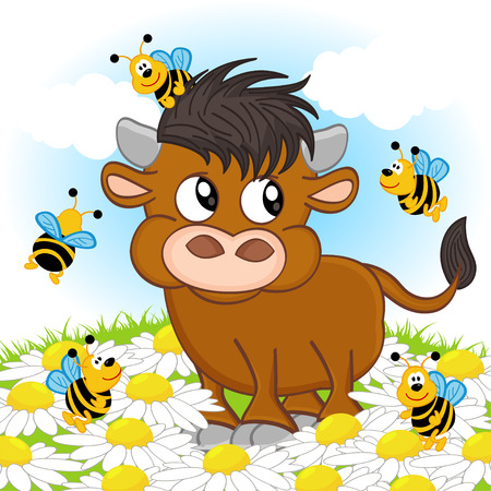 fortune flower: bull and bee - illustration Illustration