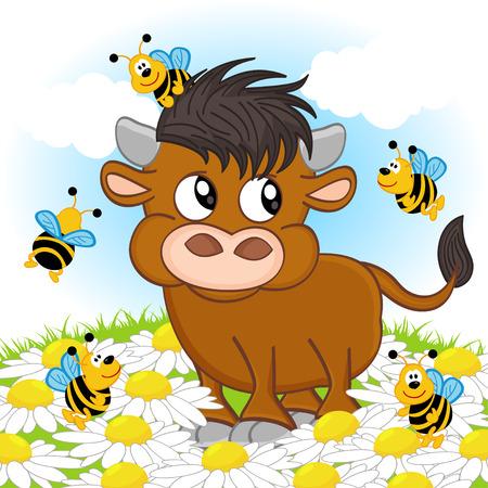 bull and bee - illustration Иллюстрация
