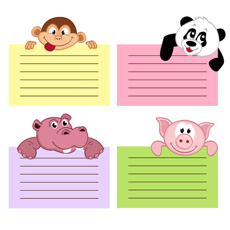 paper sheet template with animals Vector