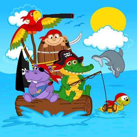 swimming bird: animals pirates - vector illustration