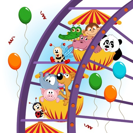 animals on ferris wheel  Vector