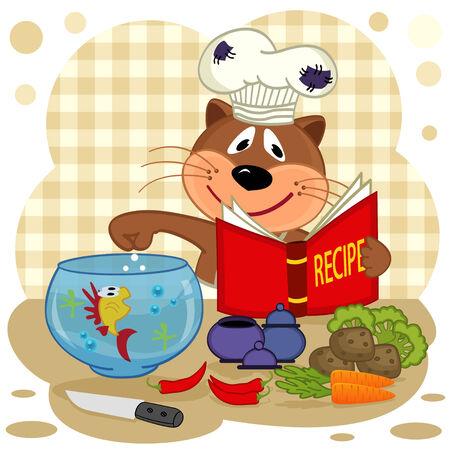 prepare: cat chef prepare soup  Illustration